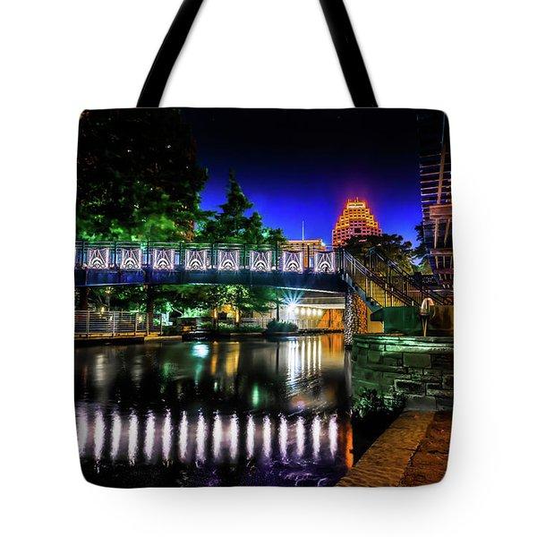 Riverwalk Bridge Tote Bag by Mark Dunton