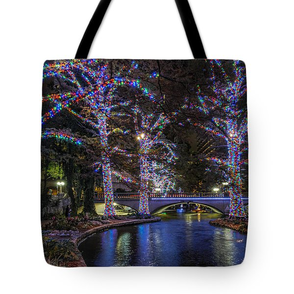 Tote Bag featuring the photograph Riverwalk Christmas by Steven Sparks
