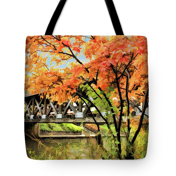 Tote Bag featuring the painting Riverwalk Covered Bridge by Christopher Arndt