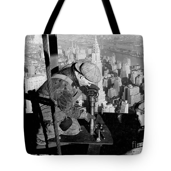 Riveters On The Empire State Building Tote Bag by LW Hine