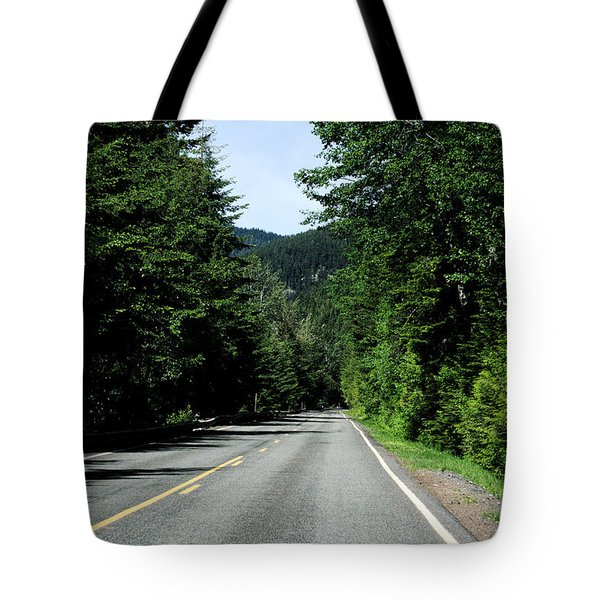 Road Among The Trees Tote Bag