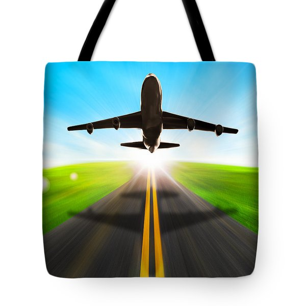 Road And Plane Tote Bag by Setsiri Silapasuwanchai