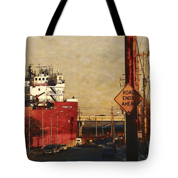 Tote Bag featuring the digital art Road Ends Ahead by David Blank