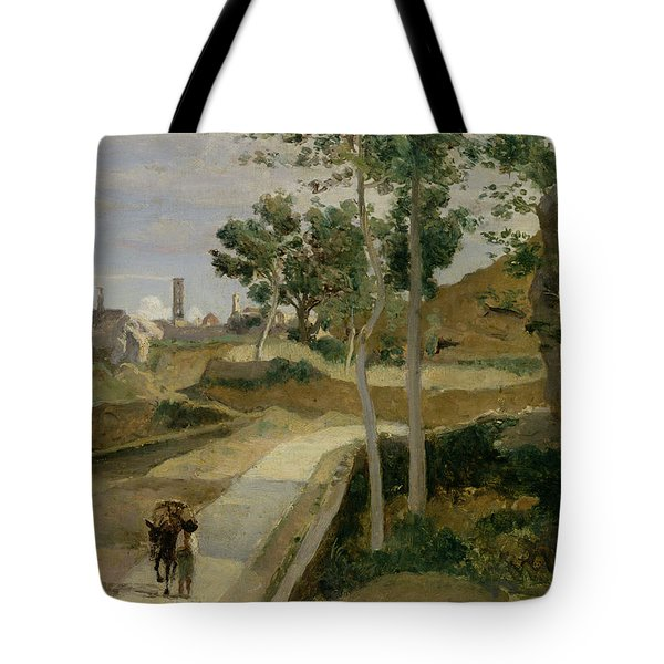 Road From Volterra Tote Bag by Jean Baptiste Camille Corot