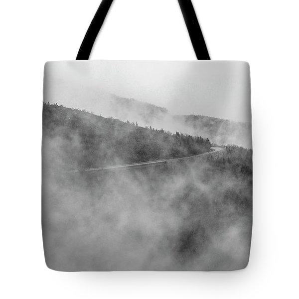 Road In Fog - Blue Ridge Parkway Tote Bag