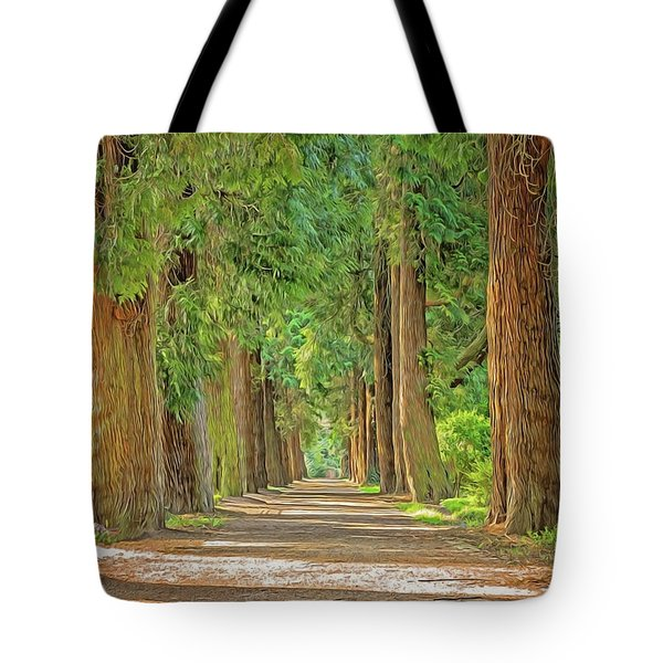 Tote Bag featuring the painting Road Less Traveled by Harry Warrick