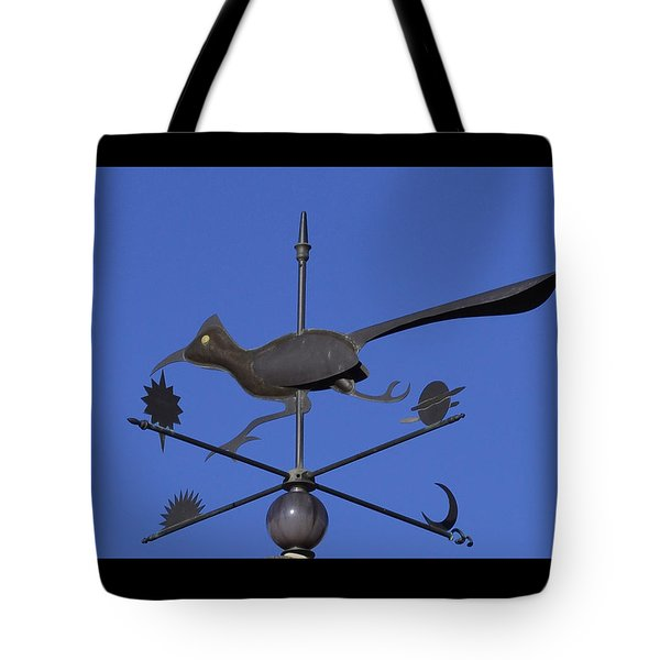 Tote Bag featuring the photograph Road Runner Weather Vane by Joan Hartenstein