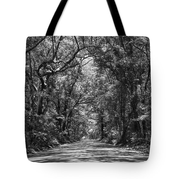 Road To Angel Oak Grayscale Tote Bag