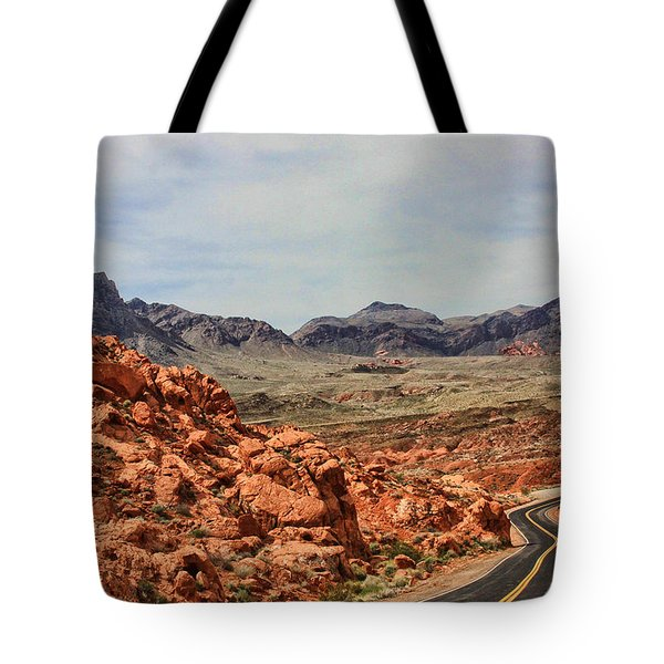 Tote Bag featuring the photograph Road To Fire by Tammy Espino
