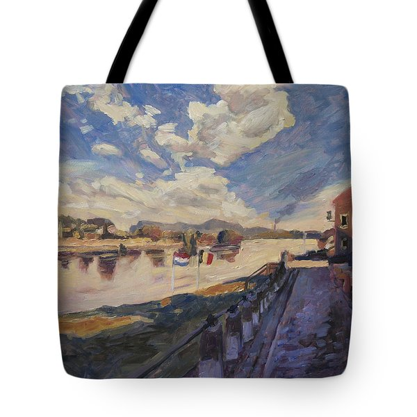 Tote Bag featuring the painting Road To The Ferry Over The River Meuse At Eijsden by Nop Briex