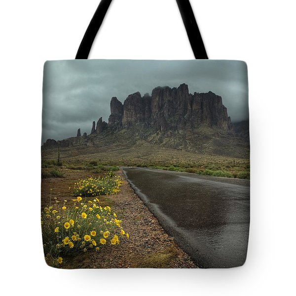 Road To The Superstitions Tote Bag by Sue Cullumber