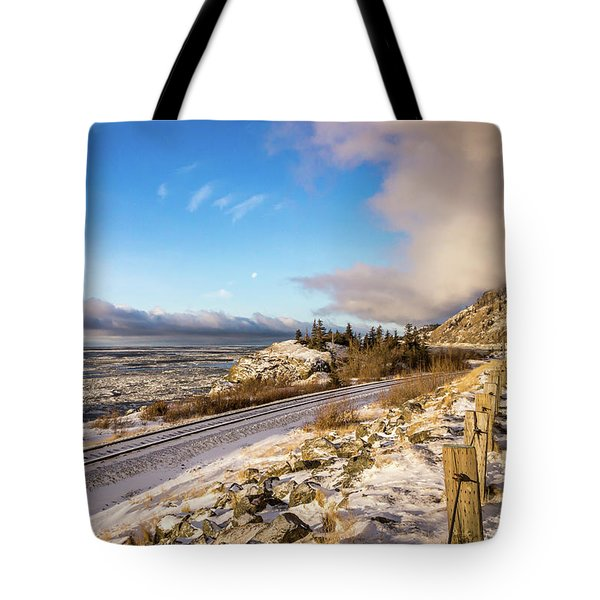Road, Tracks, And Water Tote Bag