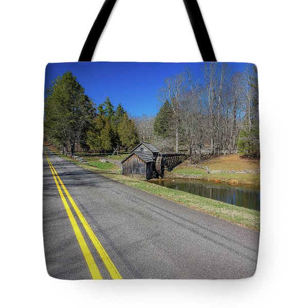 Road View Of Mabry Mill Tote Bag