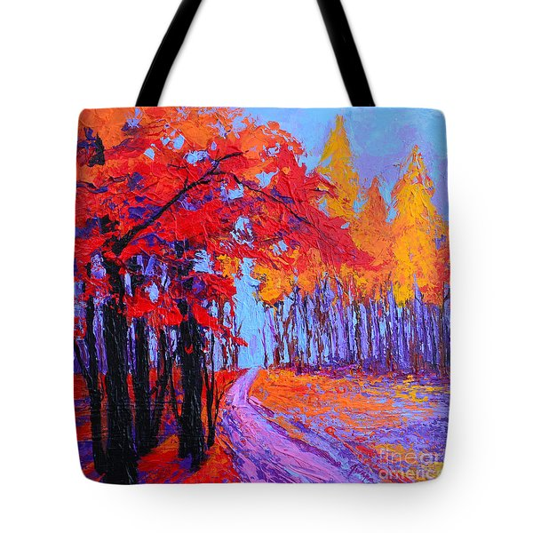 Tote Bag featuring the painting Road Within - Enchanted Forest Series - Modern Impressionist Landscape Painting - Palette Knife by Patricia Awapara