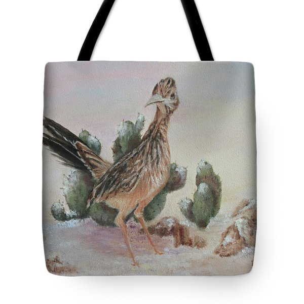 Roadrunner In Snow Tote Bag by Roseann Gilmore