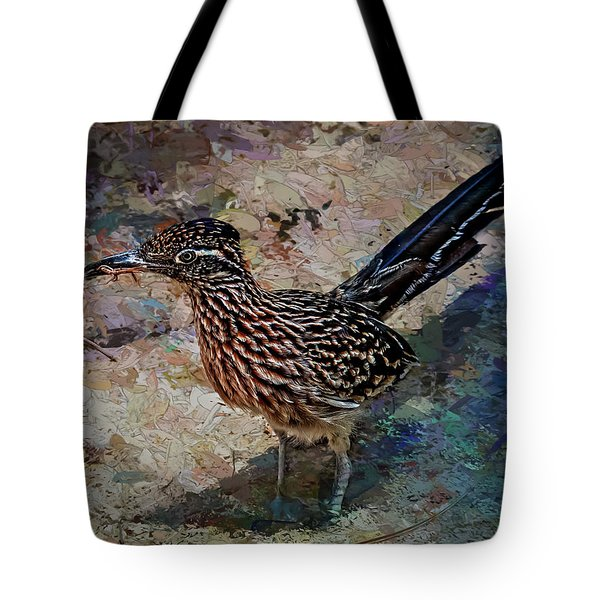 Tote Bag featuring the painting Roadrunner Making Nest by Penny Lisowski