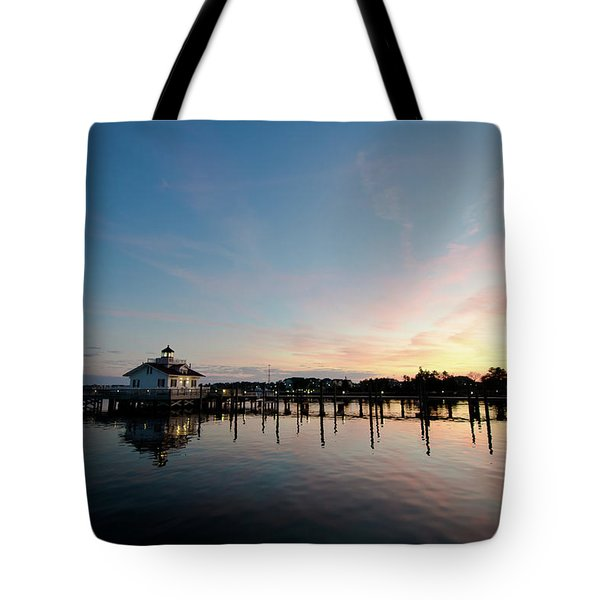 Roanoke Marshes Lighthouse At Dusk Tote Bag