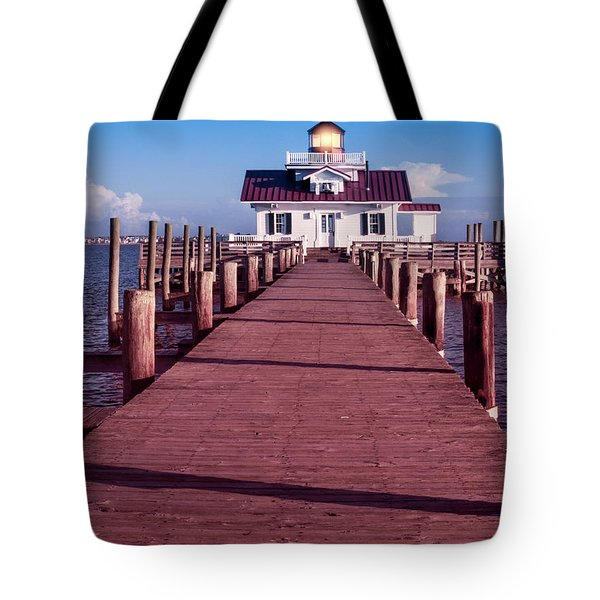 Tote Bag featuring the photograph Roanoke Marshes Lighthouse by Penny Lisowski