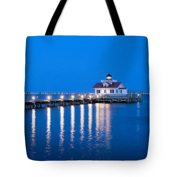 Roanoke Marshes Lighthouse Revisited Tote Bag by Marion Johnson