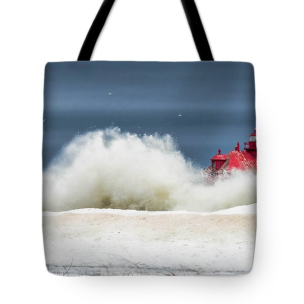 Roar On The Shore In The Door Tote Bag
