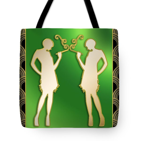 Tote Bag featuring the digital art Roaring 20s Girls - Chuck Staley by Chuck Staley