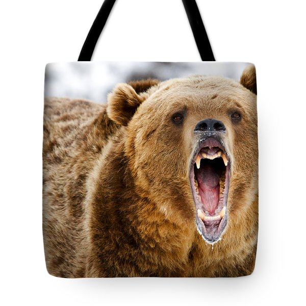 Roaring Grizzly Bear Tote Bag