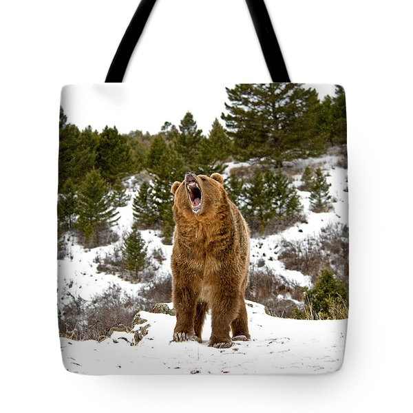 Roaring Grizzly In Winter Tote Bag