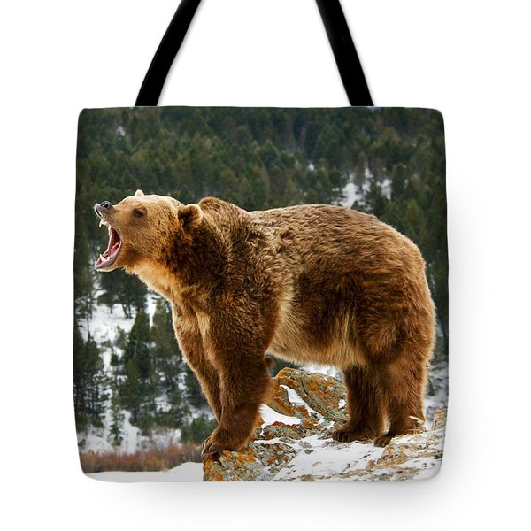 Roaring Grizzly On Rock Tote Bag