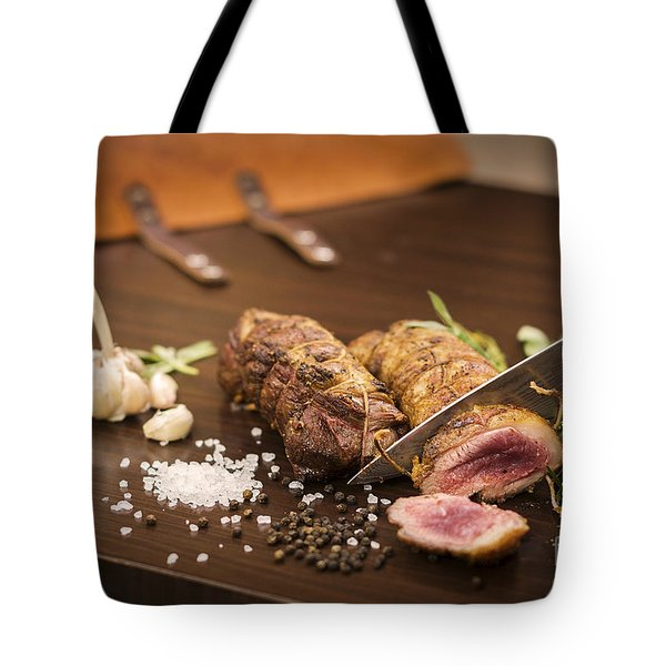 Roast Pork Rolls Being Sliced Tote Bag