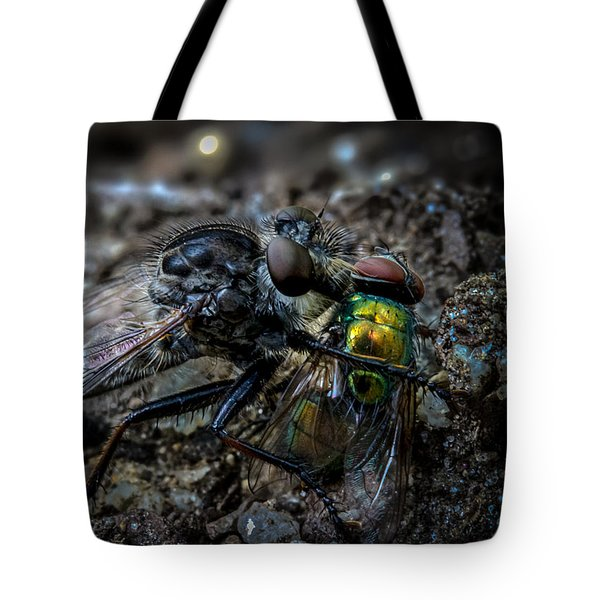 Robber Fly Eating Green Bottle Fly Tote Bag by Bob Orsillo