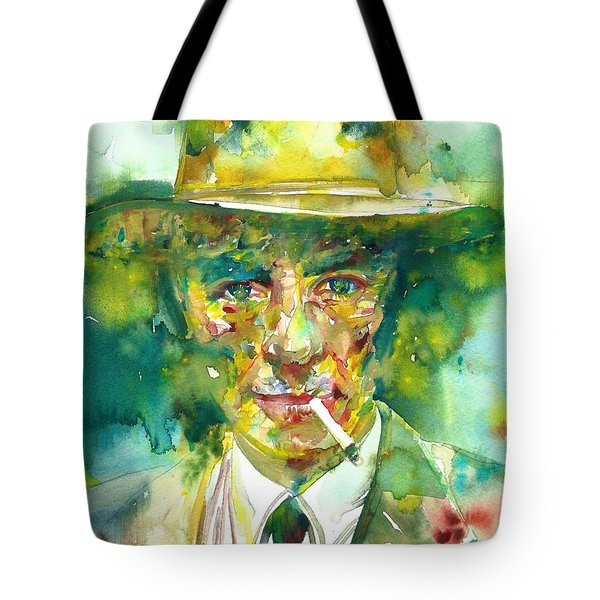 Tote Bag featuring the painting Robert Oppenheimer - Watercolor Portrait.2 by Fabrizio Cassetta