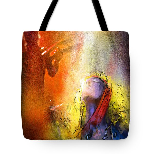 Robert Plant And Jimmy Page 02 Tote Bag by Miki De Goodaboom