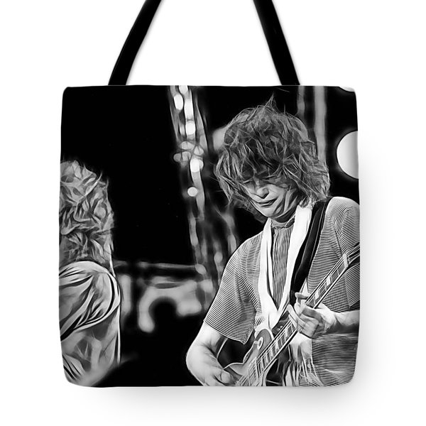 Robert Plant And Jimmy Page Tote Bag by Marvin Blaine