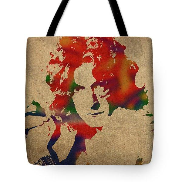 Robert Plant Led Zeppelin Watercolor Portrait Tote Bag