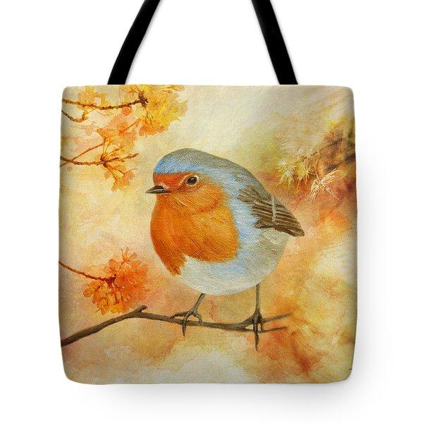 Robin Among Flowers Tote Bag