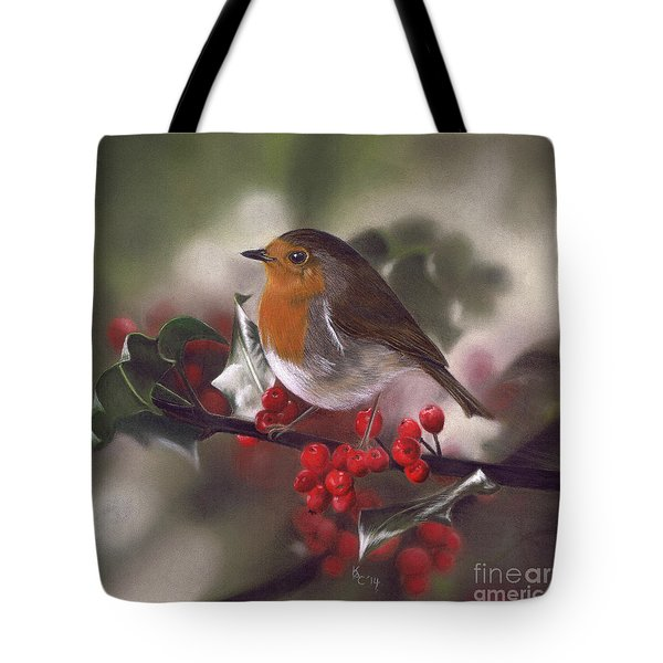 Robin And Berries Tote Bag