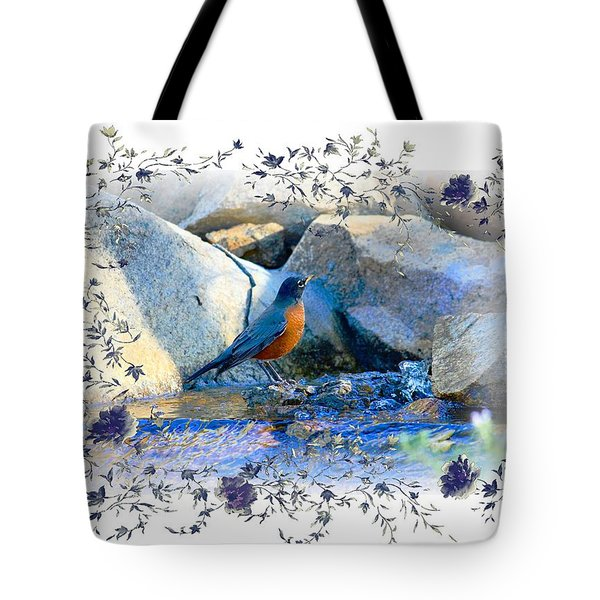 Tote Bag featuring the photograph Robin by Athala Carole Bruckner