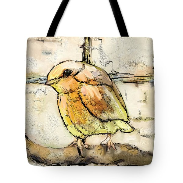 Tote Bag featuring the mixed media Robin Collage by Carrie Joy Byrnes
