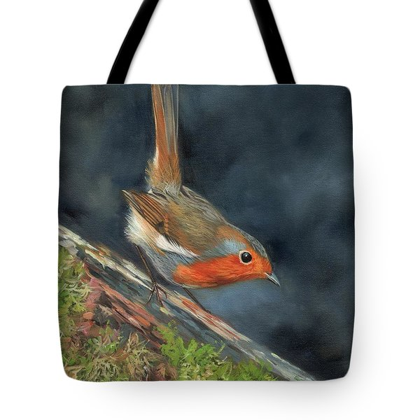 Tote Bag featuring the painting Robin by David Stribbling