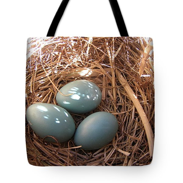 Tote Bag featuring the photograph Robin Eggs by Angie Rea