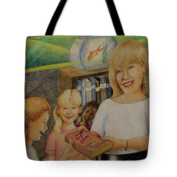 Robin Gives The Book Of Stories To The Children Tote Bag