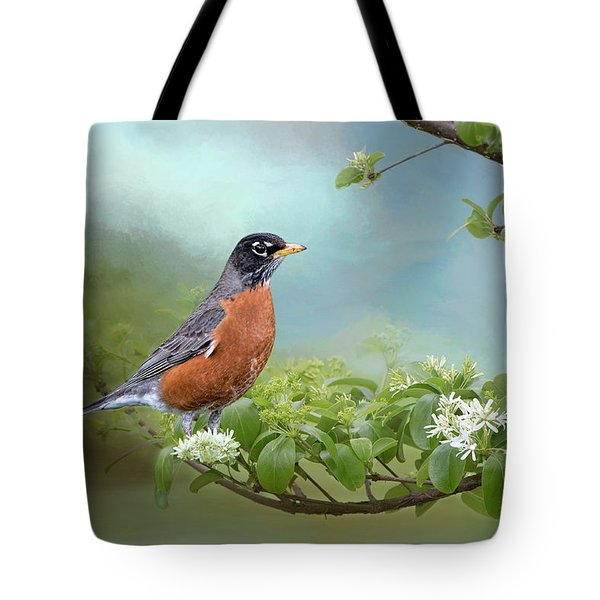 Robin In Chinese Fringe Tree Tote Bag