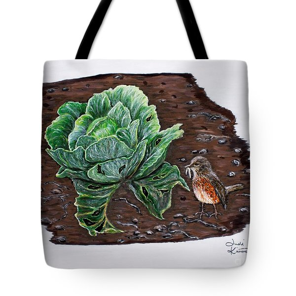 Tote Bag featuring the painting Robin In The Gardin by Judy Kirouac