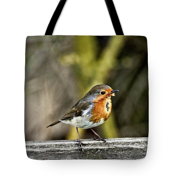 Tote Bag featuring the photograph Robin On Fence by Cliff Norton