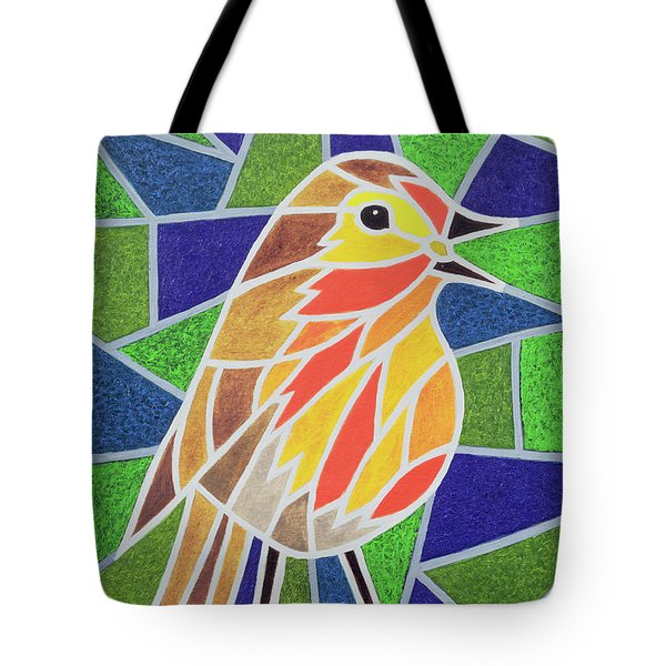 Robin On Stained Glass Tote Bag by Pat Scott