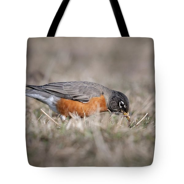 Tote Bag featuring the photograph Robin Pulling Worm by Tyson Smith