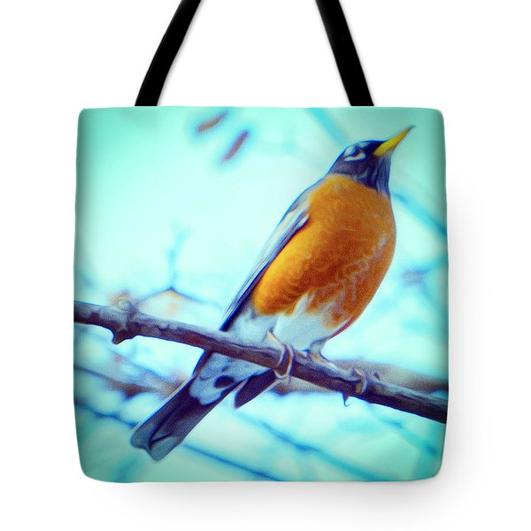 Robin Red Breast In Winter - Impressionism Tote Bag