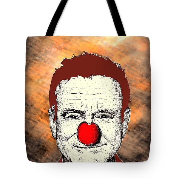 Tote Bag featuring the drawing Robin Williams 2 by Jason Tricktop Matthews