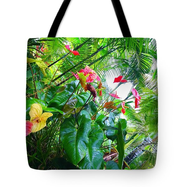 Robins Garden With Anthuriums And Ferns Tote Bag