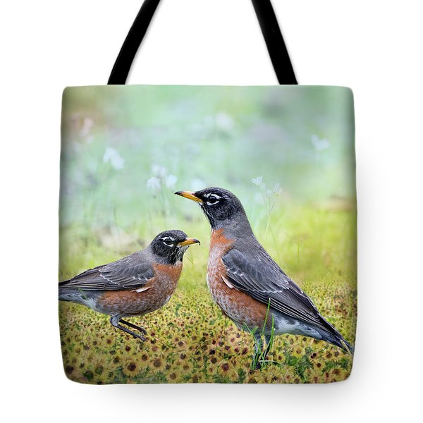 Tote Bag featuring the photograph Robins, Heralds Of Spring by Bonnie Barry